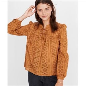 Madewell Eyelet Double Tie Peasant Top Sz S  NWT